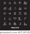 Practice editable line icons vector set on black background. Practice white outline illustrations 46716536