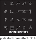 Instruments editable line icons vector set on black background. Instruments white outline 46716916