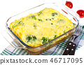 Omelette of eggs, broccoli, cheese in glass  46717095