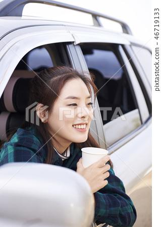 캠핑,젊은여자,한국인 46719133
