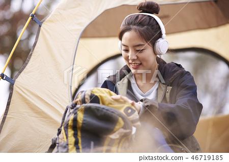 캠핑,젊은여자,한국인 46719185