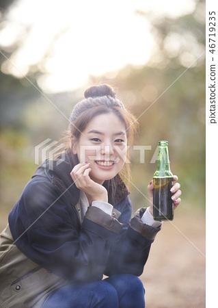 캠핑,젊은여자,한국인 46719235