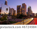Downtown, Los Angeles, buildings, night scene and car trail 46724984