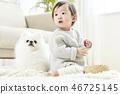 유아,베이비,아기,어린이,포메라니안,강아지,애완동물,반려동물,반려견,집 46725145
