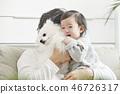 유아,베이비,아기,어린이,가족,포메라니안,강아지,애완동물,반려동물,반려견,집 46726317
