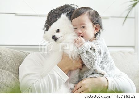유아,베이비,아기,어린이,가족,포메라니안,강아지,애완동물,반려동물,반려견,집 46726318
