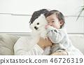 유아,베이비,아기,어린이,가족,포메라니안,강아지,애완동물,반려동물,반려견,집 46726319