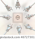 Wall socket with many power plugs around it 46727301