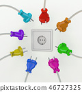 Socket with many different colored power plugs 46727325