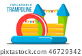 Inflatable Trampoline Vector. Playground Toy. Castle, Tower. Park. Isolated Flat Cartoon 46729342