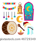 Ramadan Icons Vector. Muslim Islam Symbols. Moon, Star, Lamp. Isolated Flat Cartoon Illustration 46729349