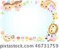 动物和儿童框架 46731759