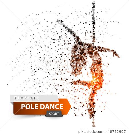 Pole dance, exotic, striptease - dot illustration. 46732997