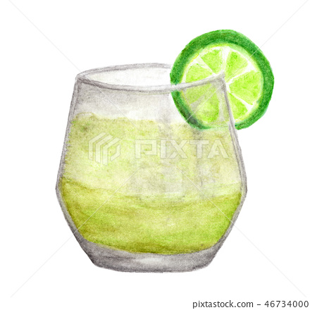Cold fresh lemonade drink with lime. Watercolor 46734000