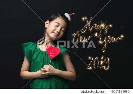 2019, 어린이, 소녀, 한국인, 검은배경 46735999