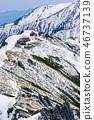 山小屋在北阿爾卑斯山在早期的春天 46737139