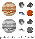 Moon, Venus of the planet of the solar system. Nil, a meteorite. Planets set collection icons in 46737667