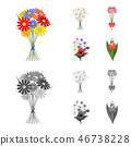 bouquet, collection, cartoon 46738228