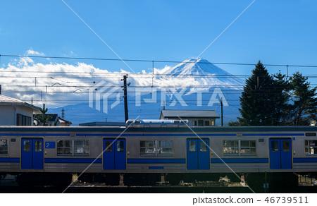 Mountain Fuji and trains on railway at Kawaguchiko 46739511