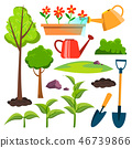 Garden Icons Vector. Watering Can, Shovel, Sapling, Plant, Watering Flowers. Isolated Flat Cartoon 46739866