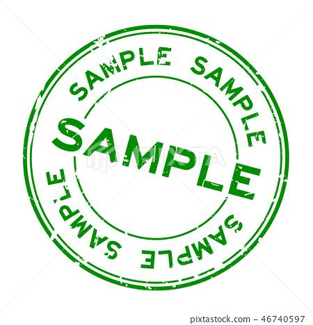 Grunge green sample word round rubber seal stamp 46740597