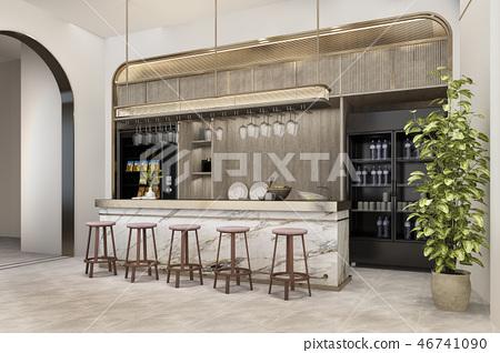 white minimal kitchen with luxury decoration 46741090
