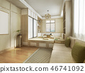 3d rendering japanese style living room 46741092