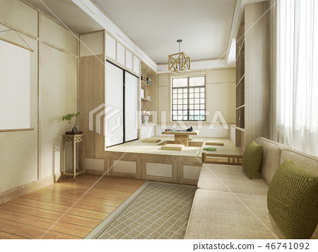 3d rendering japanese style living room - Stock Illustration ...