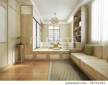 3d rendering japanese style living room 46741093