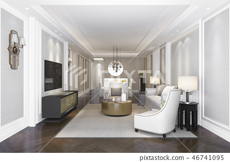 luxury and modern living room and dining room 46741095
