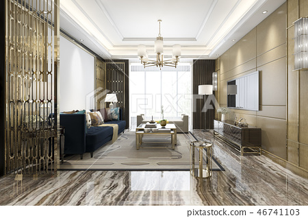 luxury classic living room with marble tile  46741103