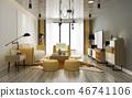 modern yellow living room with sofa 46741106