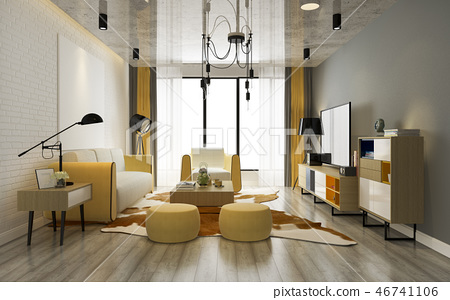 modern yellow living room with sofa 46741106