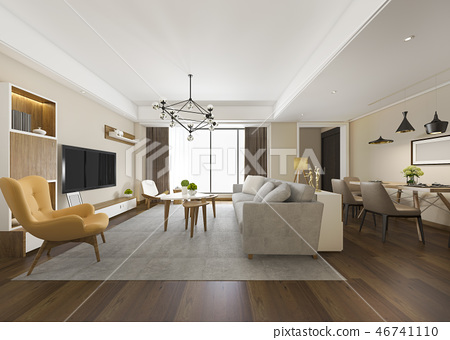 modern dining room and living room  46741110
