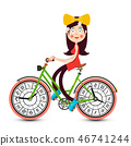 Young Pretty Girl on Bicycle with Clock Faces 46741244