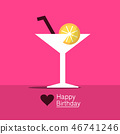 Happy Birthday Design with Cocktail Drink in Glass 46741246