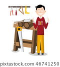 DIY Man with Working Tools and Sawhorse 46741250
