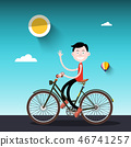 Man on Bike. Sunny Day with Boy on Bicycle Vector 46741257