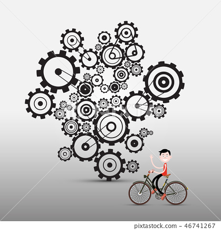 Man on Bicycle with Cogs, Gears on Background 46741267