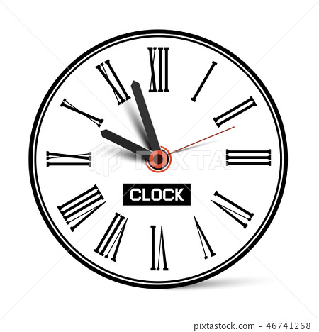 Clock Symbol with Roman Numbers Isolated  46741268