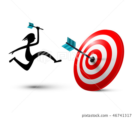 Jumping Man Silhouette with Dart on Target 46741317