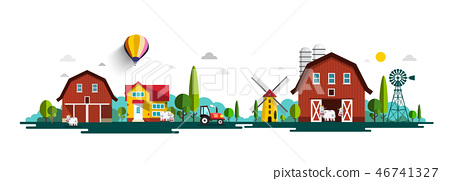 Rural Vector Landscape Panorama with Barn, Houses 46741327