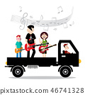 Music Band on Van with Driver Vector Illustration 46741328