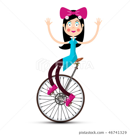 Girl on Retro Vector Bicycle Isolated 46741329