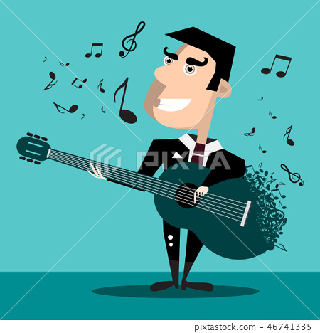 Famous Singer with Guitar and Notes 46741335