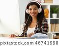 Black ordinary female designer workplace 46741998