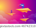 Successful businessman flying on a paper airplane and looking through a telescope, business people 46742310