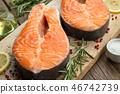 Two raw salmon fish steaks with lemon, rosemary. 46742739