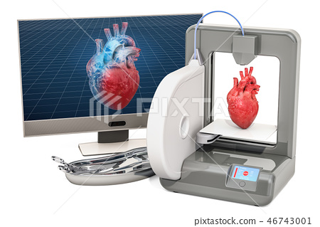 Creating artificial heart on 3D printer 46743001