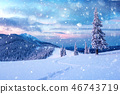 Dramatic wintry scene with snowy trees. 46743719